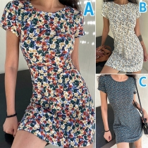 Fresh Style Short Sleeve Round Neck Slim Fit Printed Dress