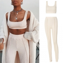 Sexy U-neck Sleeveless Crop Top + High Waist Pants Knit Two-piece Set