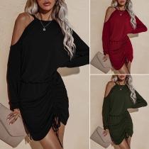 Sexy Off-shoulder Long Sleeve Irregular Drawstring Hem Solid Color Dress