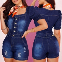 Fashion Short Sleeve Square Collar High Waist Front-button Slim Fit Ripped Denim Romper