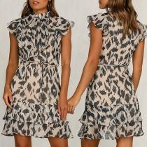 Sweet Style Ruffle Cuff Mock Neck Leopard Printed Dress