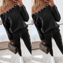 Sexy Beaded Oblique Shoulder Long Sleeve Sweatshirt + Pants Two-piece Set