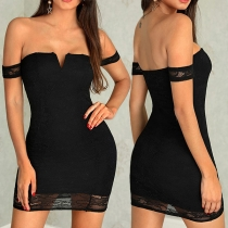 Sexy Off-shoulder Boat Neck Lace Spliced Slim Fit Party Dress