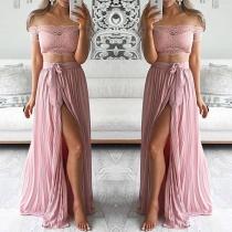 Sexy Lace Crop Top + High Waist Slit Hem Skirt Two-piece Set
