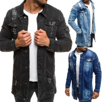 Fashion Long Sleeve POLO Collar Single-breasted Ripped Denim Coat for Man