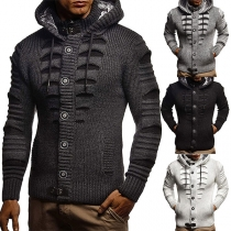 Fashion Solid Color Long Sleeve Hooded Single-breasted Man's Knit Coat