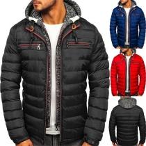 Fashion Long Sleeve Hooded Mock Two-piece Man's Padded Coat