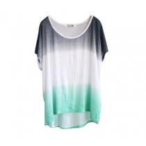 Del color del gradiente de alta bajo la Ronda Hem Escote camiseta