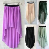 Sweet Candy color de alta bajo Dip dobladillo plisado elástico de la pretina de la falda