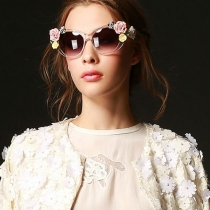 Señoras Clear Frame Sunglasses Shades con flores de cerámica
