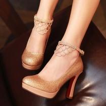 Zapatos de tacón nupcial Bombas Glitter Stilettos Plataforma Zapato con cierre de Piedras