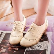Lace Up Vintage Wing Tip Mediados Bloquear talón Zapatos Oxford