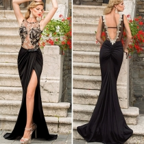 Sexy Backless See-through Gauze Embroidery Floor-length Evening Dress