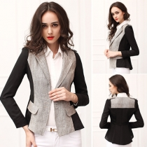Fashion Contrast Color Long Sleeve Slim Fit Blazer