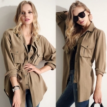 British Style Solid Color Long Sleeve Shirt