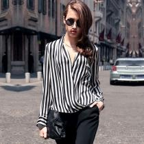 Retro Style V-neck Long Sleeve Striped Shirt