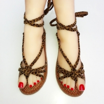 Fashion Flat Heel Lace-up Thong Sandals