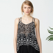 Sexy Backless Floral Print Chiffon Sling Tops