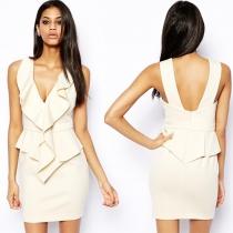 Elegant Solid Color V-neck Flouncing Sleeveless Slim Fit Dress