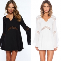 Fashion Hollow Out Lace Spliced Trumpet Sleeve Solid Color Dress