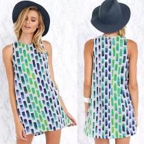 Fashion Colorful Geometric Print Sleeveless Dress