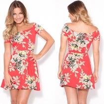 Fashion Slash Neck Short Sleeve Slim Fit Print Dress