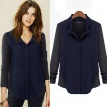 Fashion Wool Spliced Contrast Color Long Sleeve Shirt