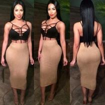Sexy Hollow Out Tops + High Waist Bust Skirt Two-piece Set