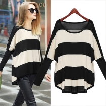 Fashion Bat Sleeve High-low Hem Striped Sweater