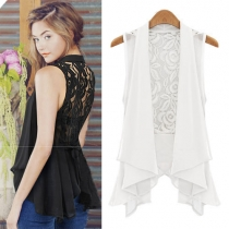 Sexy Hollow Out Lace Spliced Irregular Hem Chiffon Vest