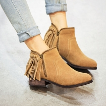 British Style Thick Heel Pointed Toe Tassel Ankle Boots Booties