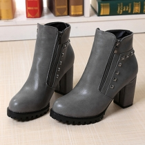Retro Rivet Thick Heel Round Toe Martin Boots Booties
