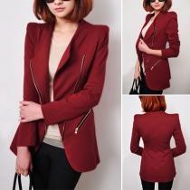 Fashion Solid Color Oblique Zipper Slim Fit Little Coat