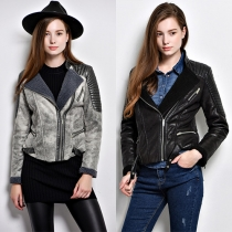 Fashion PU Leather Spliced Long Sleeve Stand Collar Faux Suede Motorcycle Jacket