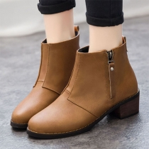 Fashion Round Toe Square Heel Ankle Boots Booties