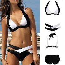 Bikini Traje de Escote Halter con Braga con Correa