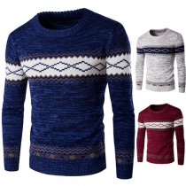 Suéter de Punto de Escote Redondo Manga Larga