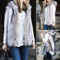 Fashion Front Zipper Sleeveless Hooded Artificial Fur Vest