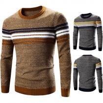 Suéter de Tejido de Punto Escote Redondo Manga Larga para Hombre