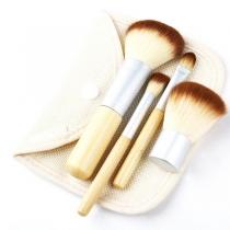 Set de pinceles cosméticos para maquillaje de madera (4 piezas)