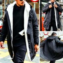 Fashion Long Sleeve Plush Lining Hooded Men's Padded Coat