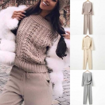 Fashion Long Sleeve Boat Neck Sweater + Pants Two-piece Set