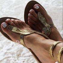 Sandalias de Cuña en Forma de Serpiente de Tono Dorado y Plateado