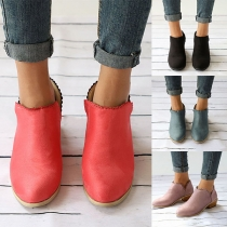 Fashion Solid Color Square Heel Round Toe Ankle Boots