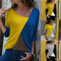 Blusa de Tricolor Escote Asimétrico  Manga Larga
