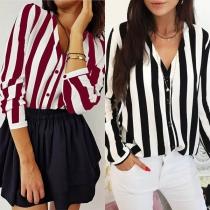 Sexy V-neck Long Sleeve Striped Blouse