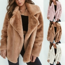 Fashion Solid Color Long Sleeve Lapel Plush Coat