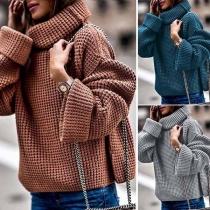 Suéter de Escote Vuelto Alto de Manga Larga