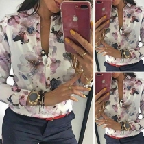 OL Style Long Sleeve Stand Collar Printed Blouse