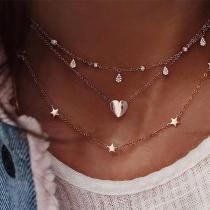 Collar con Colgante de Corazón y Estrellas